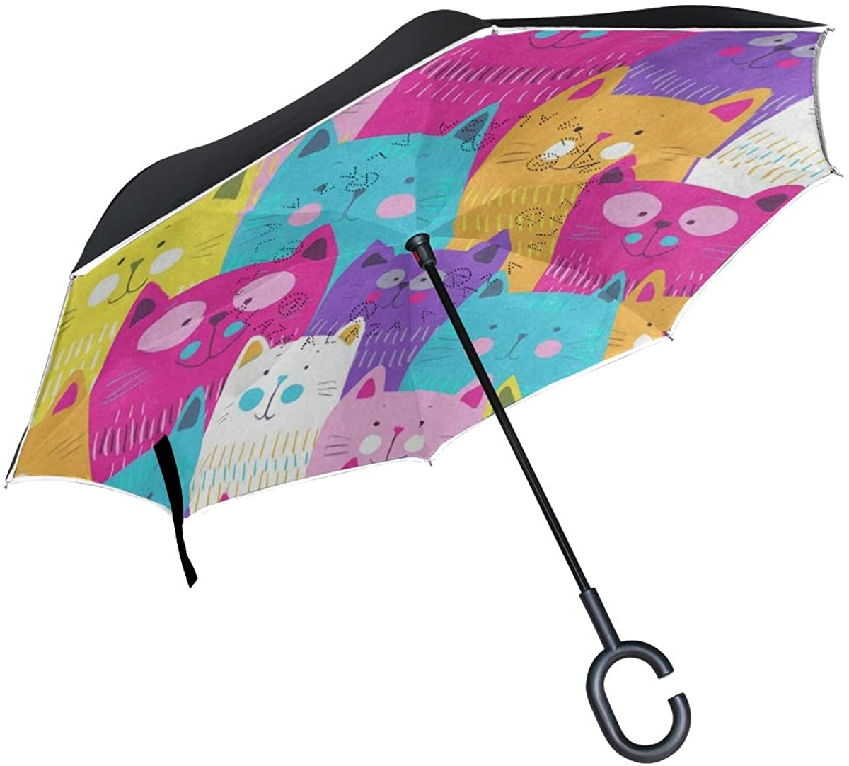 Double Layer Inverted Umbrella Cars Reverse Umbrella, Windproof UV Protection for Car Rain Outdoor with C-Shaped Handle