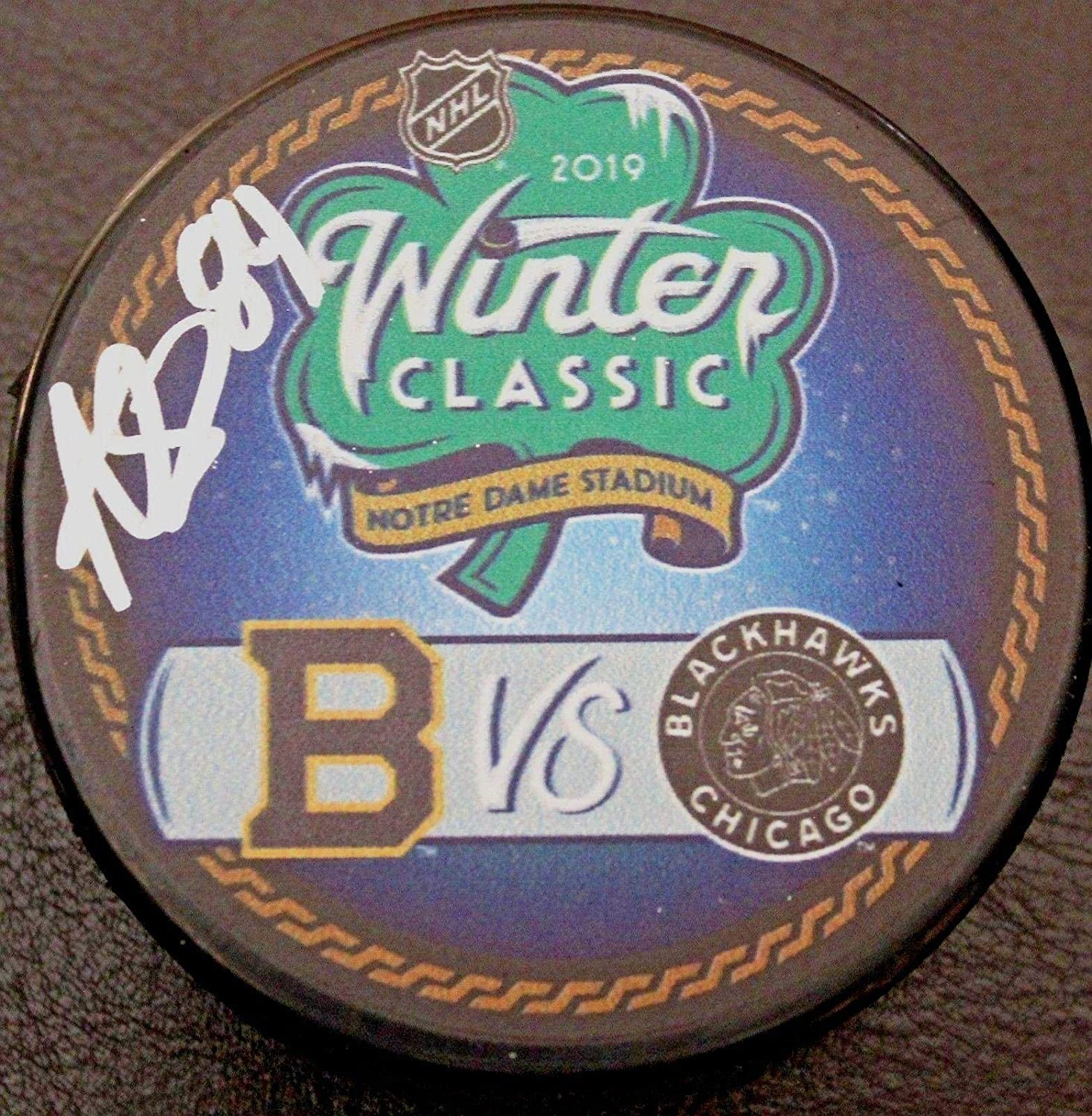 Alexandre Fortin Signed Hockey Puck - 2019 Winter Classic w COA Notre Dame - Autographed NHL Pucks