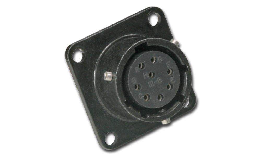 Amphenol Industrial PT02E-8-4P Circular Connector Pin, Environmental Resisting, Bayonet Coupling, Solder Termination, Box Mounting Receptacle, 8-4 Insert Arrangement, 8 Shell Size, 4 Contacts