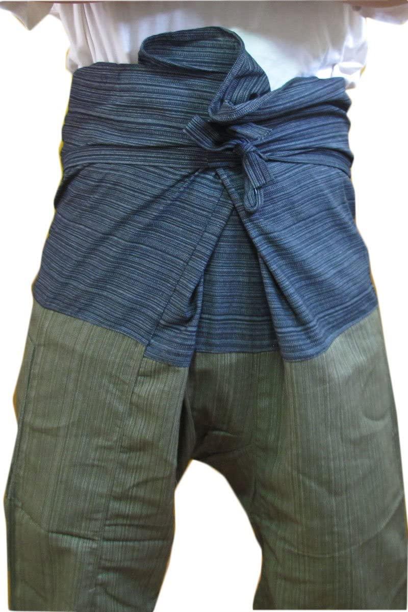 RoyalThaiElephant 2 Tone Thai Fisherman Pants Yoga Trousers Free Size Plus Size Cotton