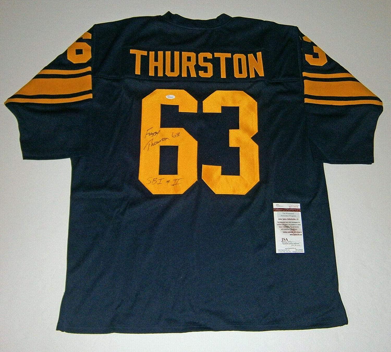 Fuzzy Thurston Signed Jersey - custom navy w SB I & II COA - JSA Certified - Autographed NFL Jerseys