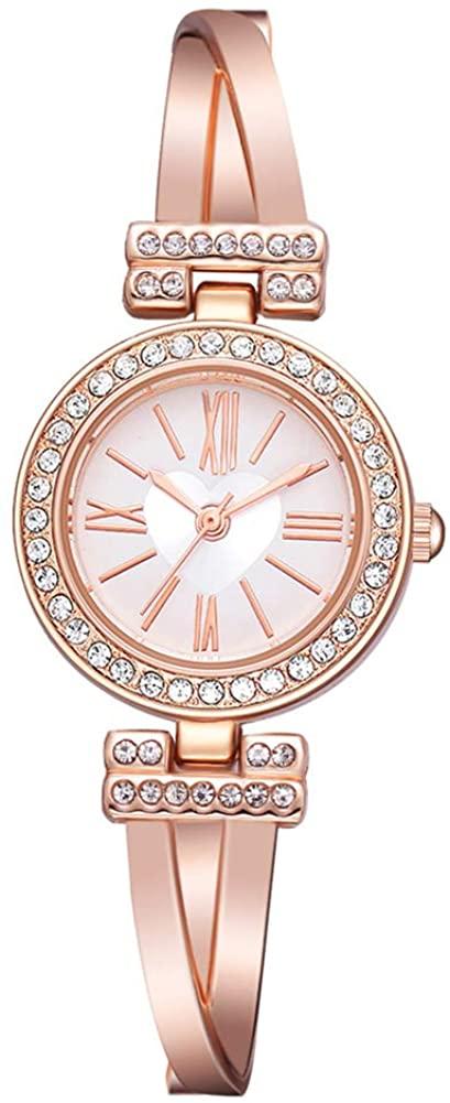 Acamifashion Round Dial Roman Numbers Quartz Rhinestone Women Wrist Watch