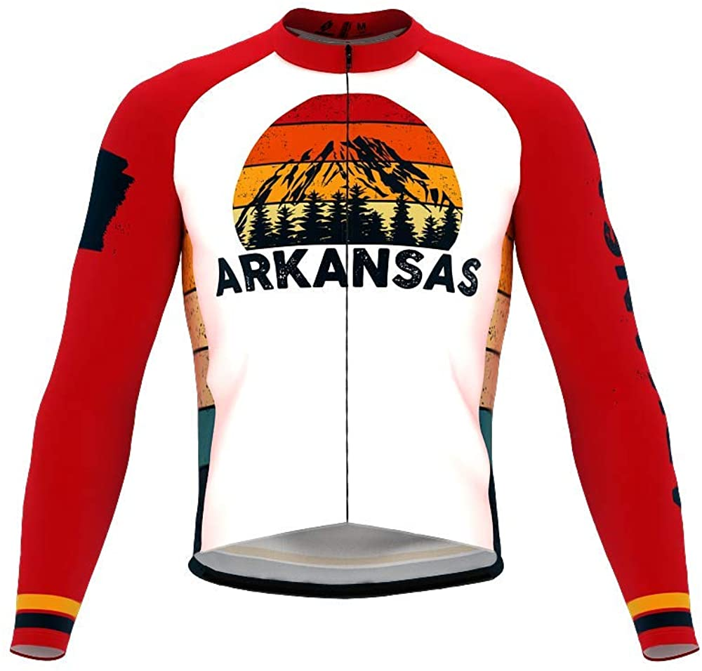 ScudoPro Pro Thermal Long Sleeve Cycling Jersey Arkansas USA State Icon Landmark Identity for Men