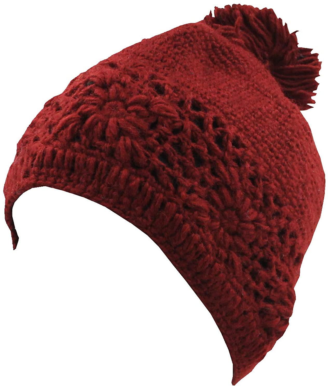 KayJayStyles Nepal Hand Knit Beanie Skull Ski Wool Fleeced Hat