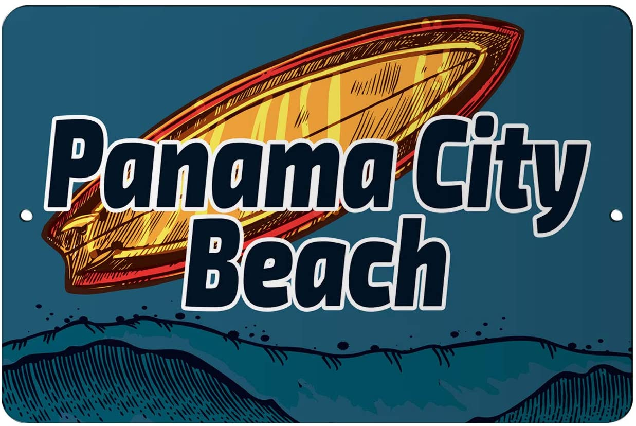 Makoroni - Panama City Beach Surfing Beach 12x18 inc Aluminum Decorative Wall Street Sign