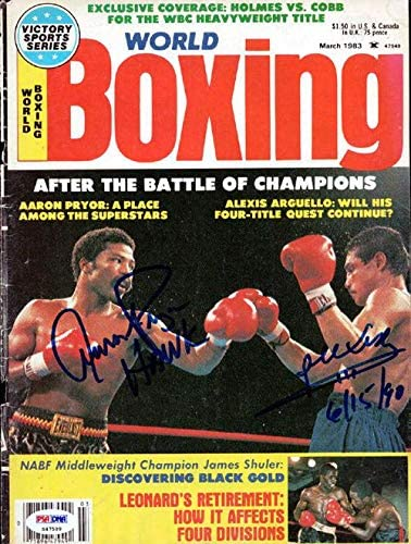 Alexis Arguello & Aaron Pryor Autographed Boxing World Magazine Cover #S47599 - PSA/DNA Certified - Autographed Boxing Magazines