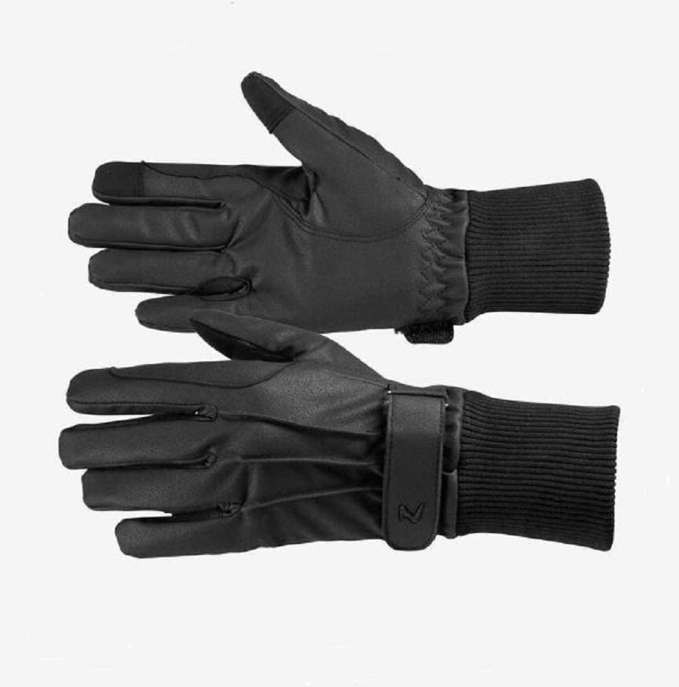 Horze Adult Size 8 Black PU Leather Fleece Lined Fall Winter Warm Gloves