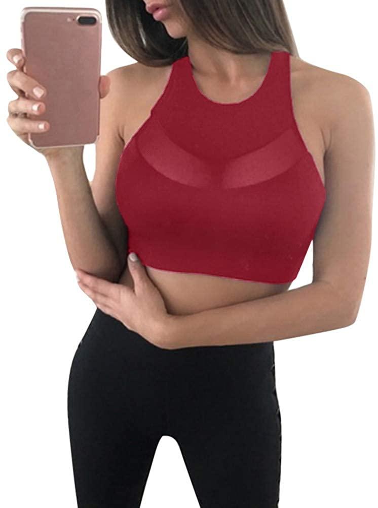 ZEFOTIM Fashion Women Mesh Perspective Sports Vest Tank Tops Running Fitness Yoga Bra