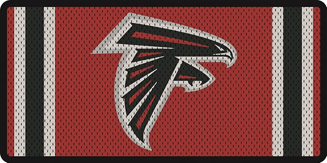 Atlanta Falcons Jersey Style Deluxe Acrylic Laser Cut Mirrored License Plate Tag Football