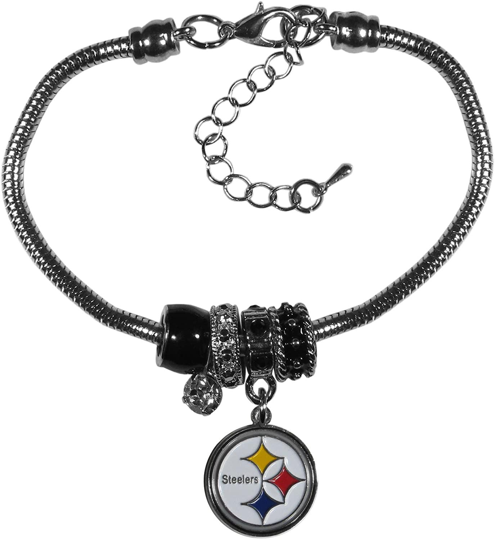 NFL Siskiyou Sports Womens Pittsburgh Steelers Euro Bead Bracelet One Size Team Color