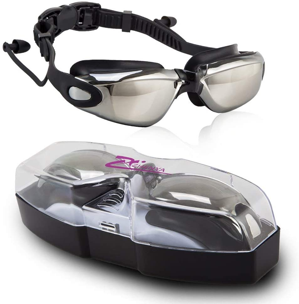 BIENNA Swim Goggles, Mirrored Swimming Goggles No Leaking Anti Fog UV Protection with Free Protection Case Silicone Nose Bridge for Adult Men Women Youth Clear Vision Sport