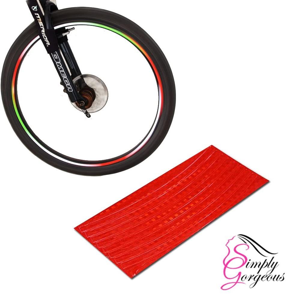 Simply Gorgeous Bike BMX Car Rim Wheel Stickers Tape Reflectors - Neon Red