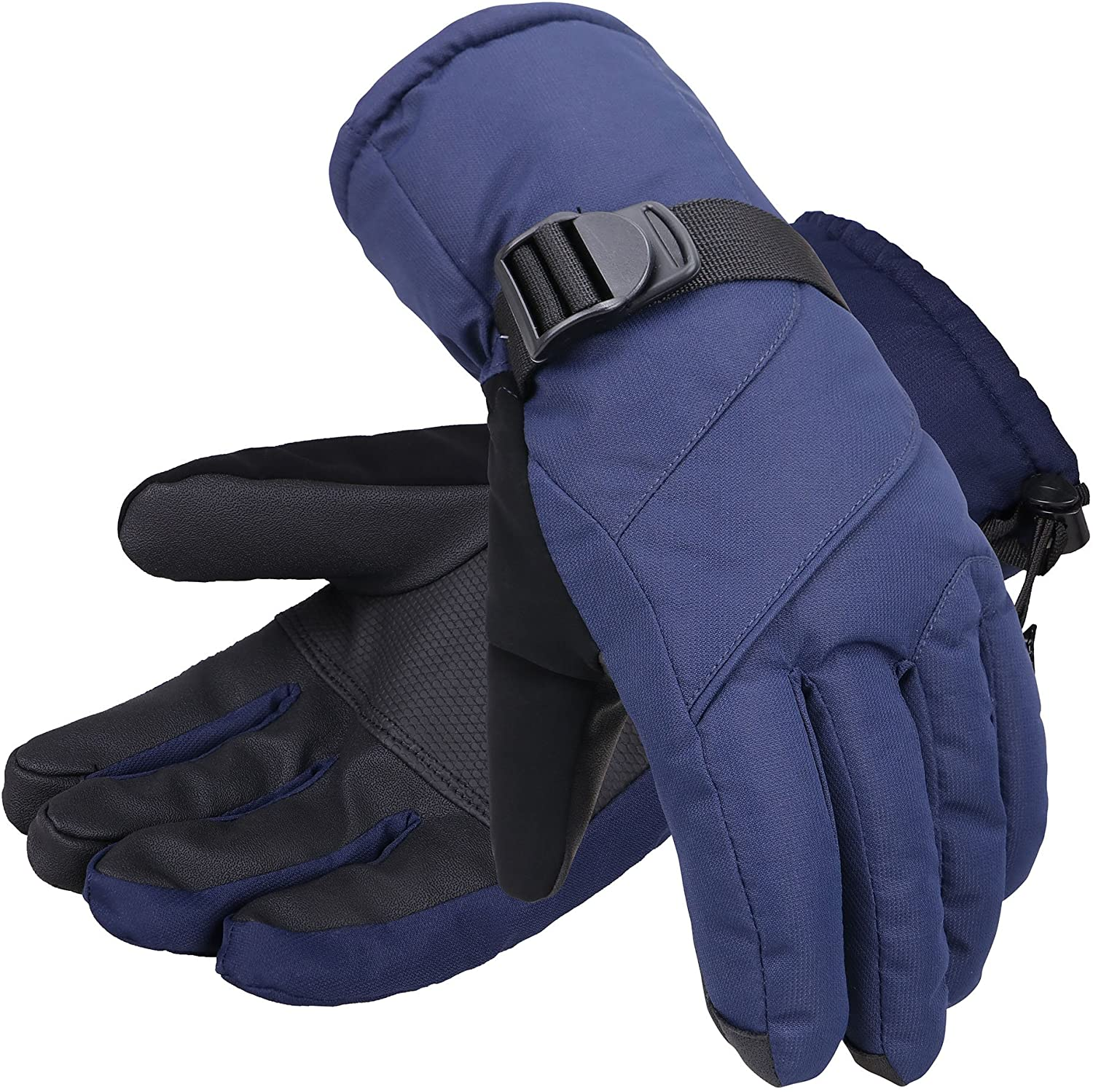 YoungLove Mens Touchscreen Waterproof Winter Snow Gloves Navy L