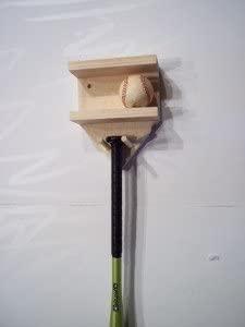 Natural Wood Full Size Baseball Bat Rack Display 4 Baseballs Holder Wall Mount