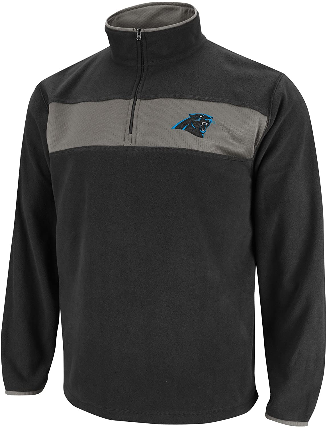 NFL Mens Carolina Panthers Fade Route III Long Sleeve 1/4 Zip Micro Chiller