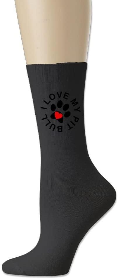 SWEET-YZ Sports Sock I Love My Pitbull Cotton Crew Socks For Men Women