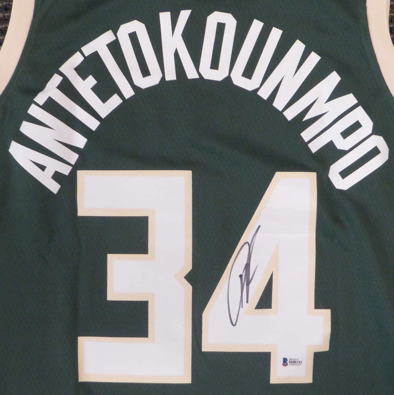 Milwaukee Bucks Greek Freak Giannis Antetokounmpo Autographed Green Authentic Swingman Jersey Size 48 Beckett BAS