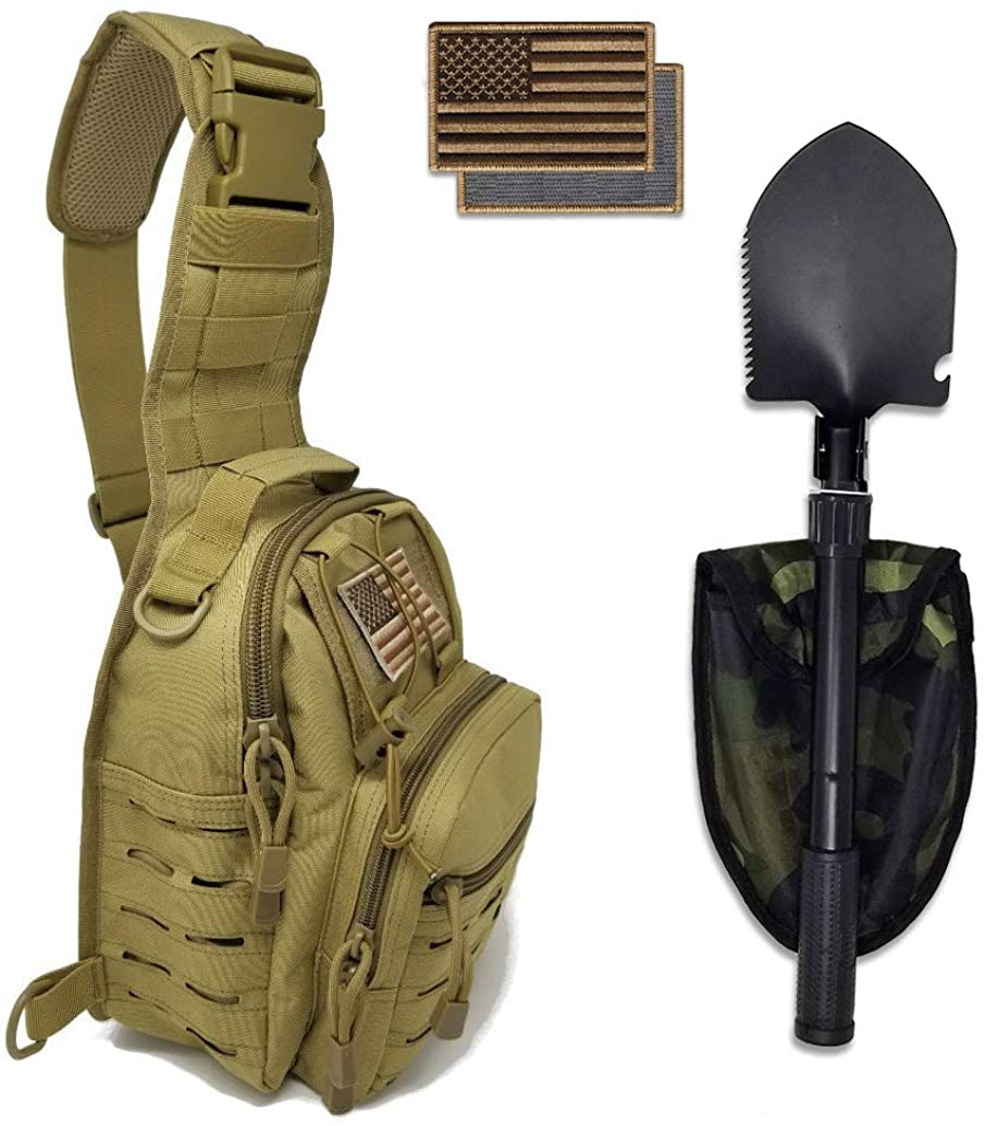Tactical Sling Bag + Portable Camping Shovel + Flag Patch Combo - Military Day Pack, Small Backpack, Fishing, Hiking, Hunting
