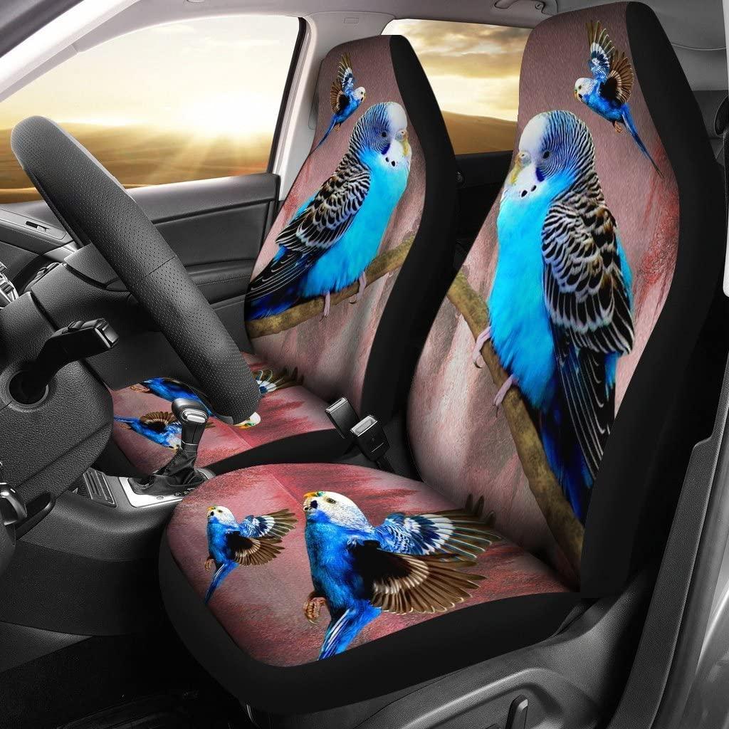 wonderfulpetloverstore Blue Budgie (Budgerigar) Bird Print Car Seat Covers