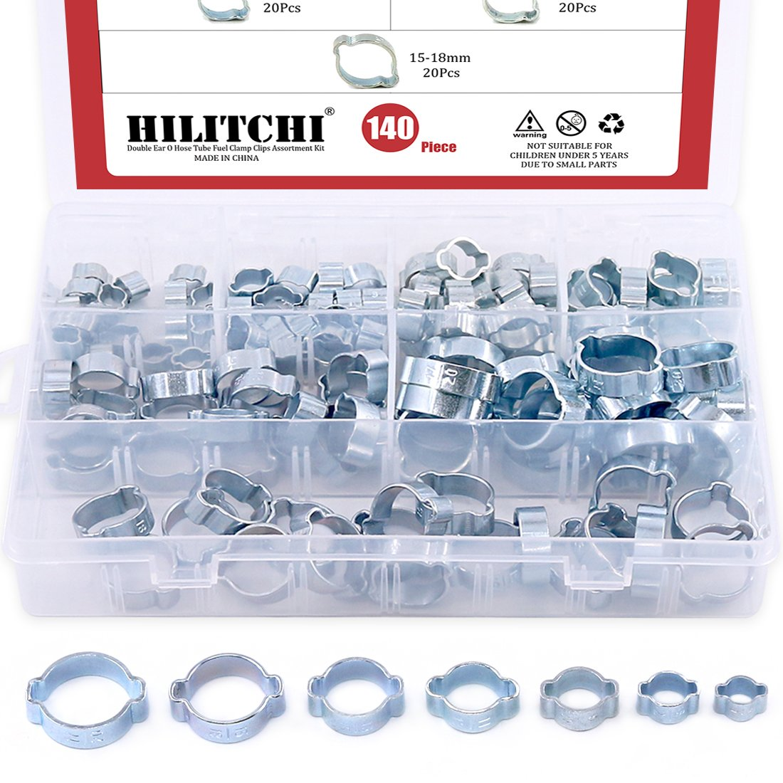 Hilitchi 140-Pcs Zinc Plated Double Ear O Clips Hose Tube Fuel Clamp Assortment Kit - 7-Size