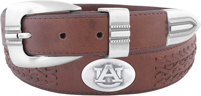 NCAA Auburn Tigers Full Grain Leather Braided Concho Belt
