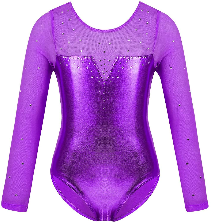 Agoky Kids Girls Basic Long Sleeve Tulle Sparkly Gymnastics Leotard Top T-Shirt Ballet Dance wear