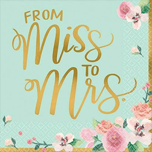 Miss to Mrs Mint Paper Napkins 16ct Lunch Dinner Size - Mint to Be Bridal Shower Decorations Tableware