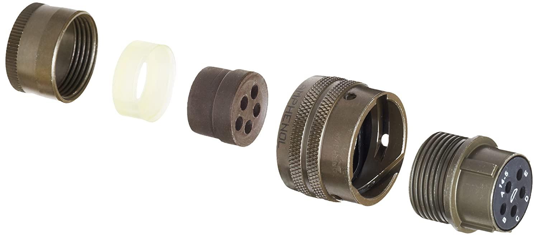 Amphenol Industrial PT06E-14-5S Circular Connector Socket, Environmental Resisting, Bayonet Coupling, Solder Termination, Straight Plug, 14-5 Insert Arrangement, 14 Shell Size, 5 Contacts
