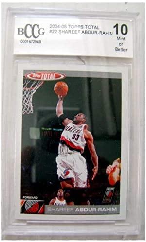 Shareef Abdur Rahim trading card Graded Slabbed 10 Mint BCCG 2004 Topps Total #22 (Portland Trailblazers Basketball University Cal Bears Legend 67)