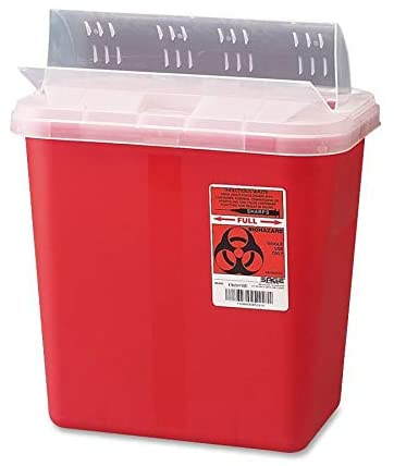 COVIDIEN 2 Gallon Lid Sharps Container, 12.8 x 10.5 x 7.3, Red