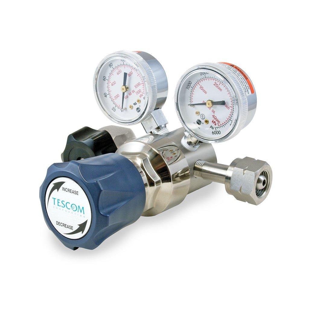 TESCOM SG164141-00BP0 SG1 Single-Stage Pressure Regulator, SST Body/Diaphragm, 0-125 PSIG Out, Teflon Seals, 4 Port, 0.06 CV, 1/4