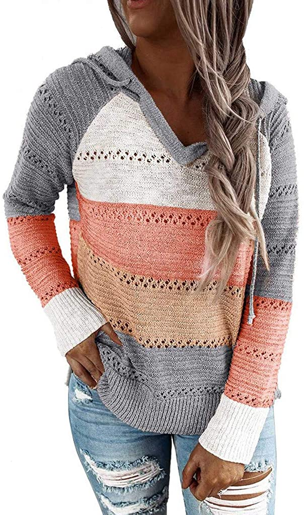 MURTIAL Women Hooded Sweater,Striped Color Block Pullover for Womens Long Sleeve Sweatshirts,Hollow Out Tops(S-3XL)