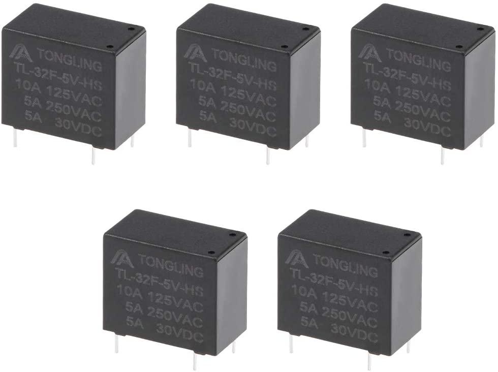 uxcell 5 Pcs TL-32F-5V-HS DC 5V Coil SPST 4 Pin PCB Electromagnetic Power Relay