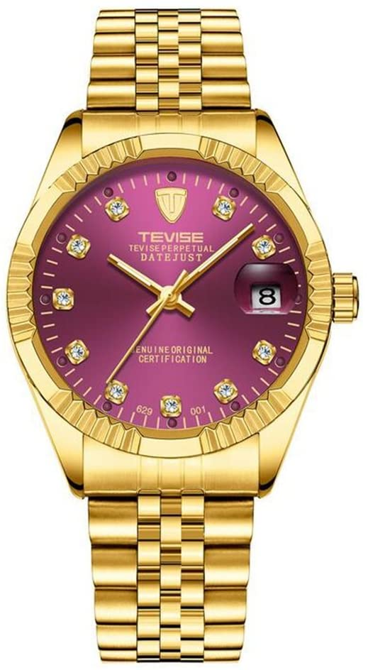 HUAN Mens Stainless Stee Watches Men Luxury Waterproof Calendar Analogue Quartz Counts Watch Gents Sports Business Casual Dress Wrist Watch