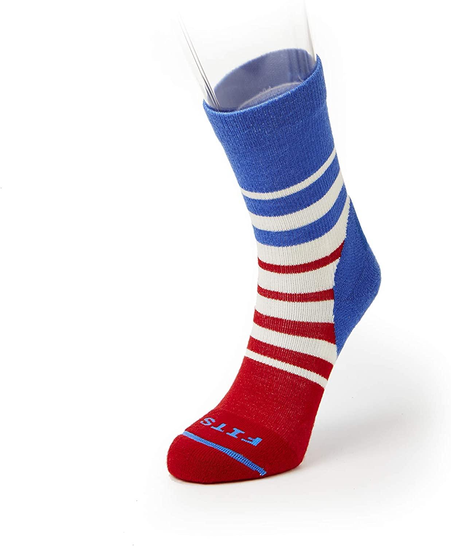 FITS Light Hiker Mini-Crew Socks, Natural/Classic Blue, M