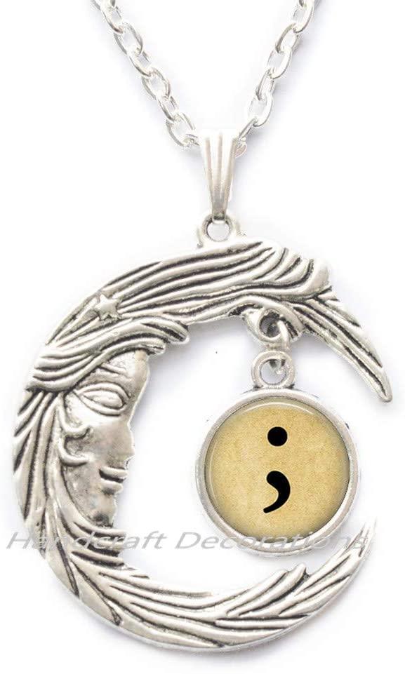 HandcraftDecorations Semi Colon Necklace-Suicide Awareness-Semi Colon Jewelry-Semicolon-Depression-Awareness Jewelry.F289