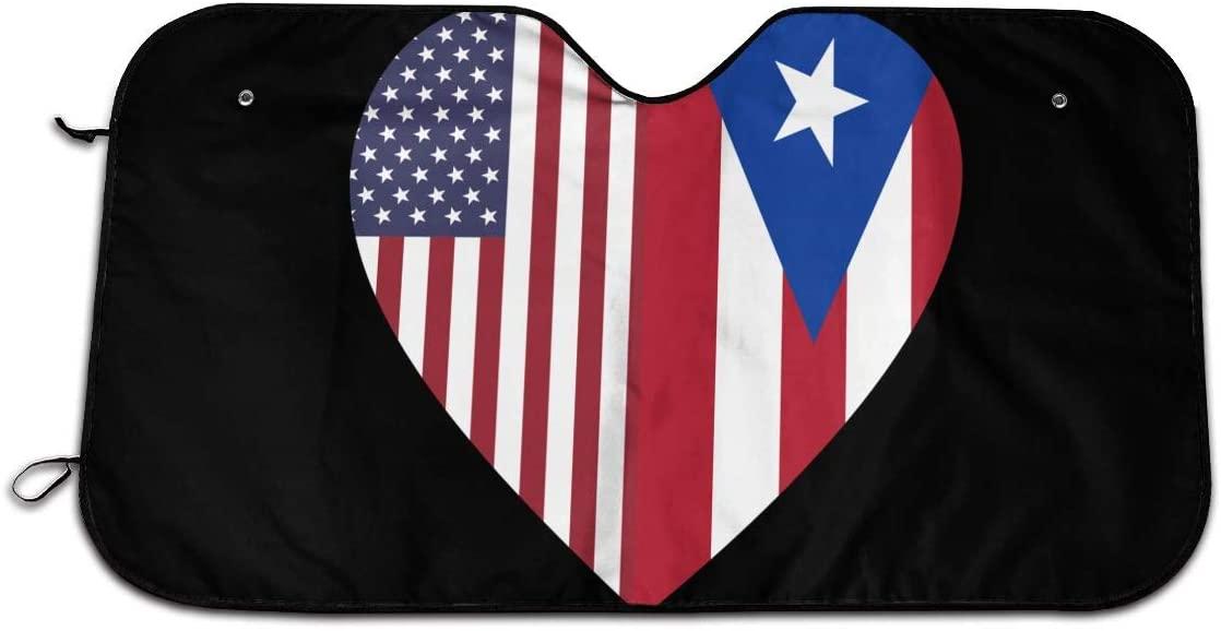 XTing Half Puerto Rico Flag Half USA Flag Love Heart Windshield Sun Shade Blocks UV Rays Sunshade Shield Sun Visor Protector Keeps Vehicle Cool for Car Truck SUV