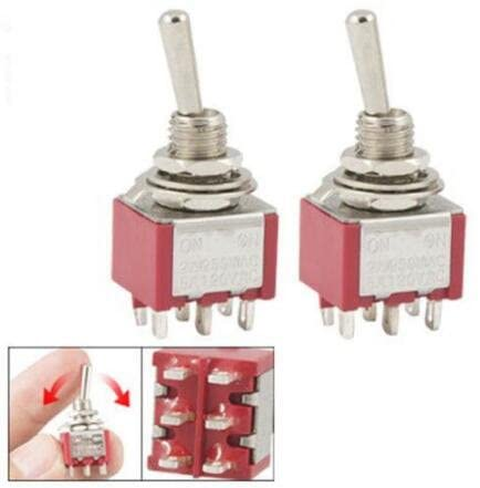 Jimin_2 Pcs red ON/ON 2 Position Double Pole Double Throw Toggle Switch 6 PIN MTS-202