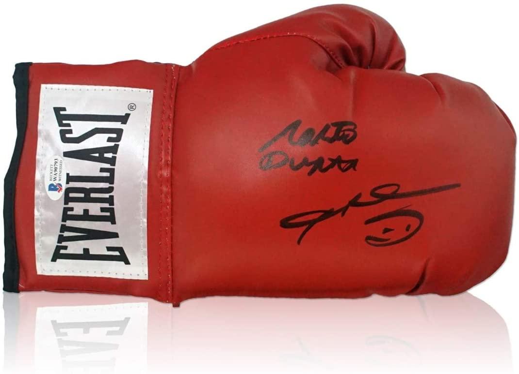 Sugar Ray Leonard And Roberto Duran Signed Red Boxing Glove   Autographed Memorabilia