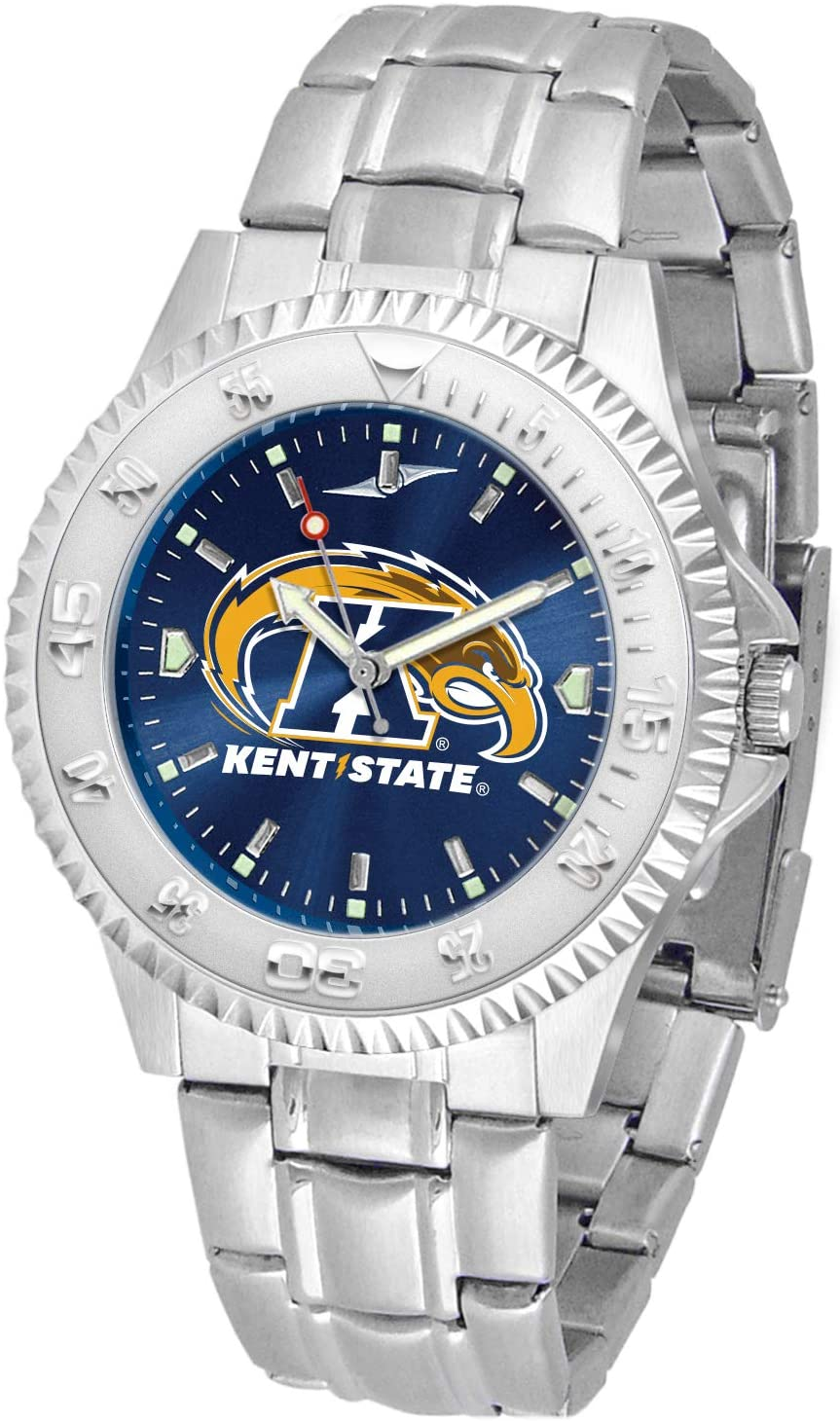 SunTime Kent State Golden Flashes Competitor AnoChrome Men's Watch with Steel Band