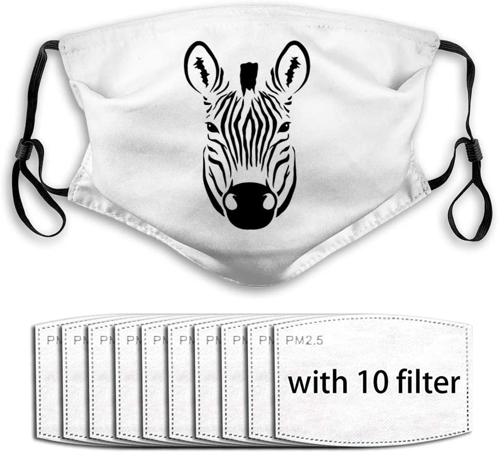 YILINGER Windproof Sport Mask Earloop Bandana (10 Filter) Image of an Zebra Head