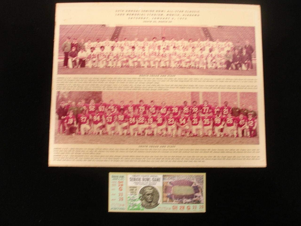 January 6, 1973 Senior Bowl Game Full Ticket & Team Photograph - NFL Unsigned Miscellaneous