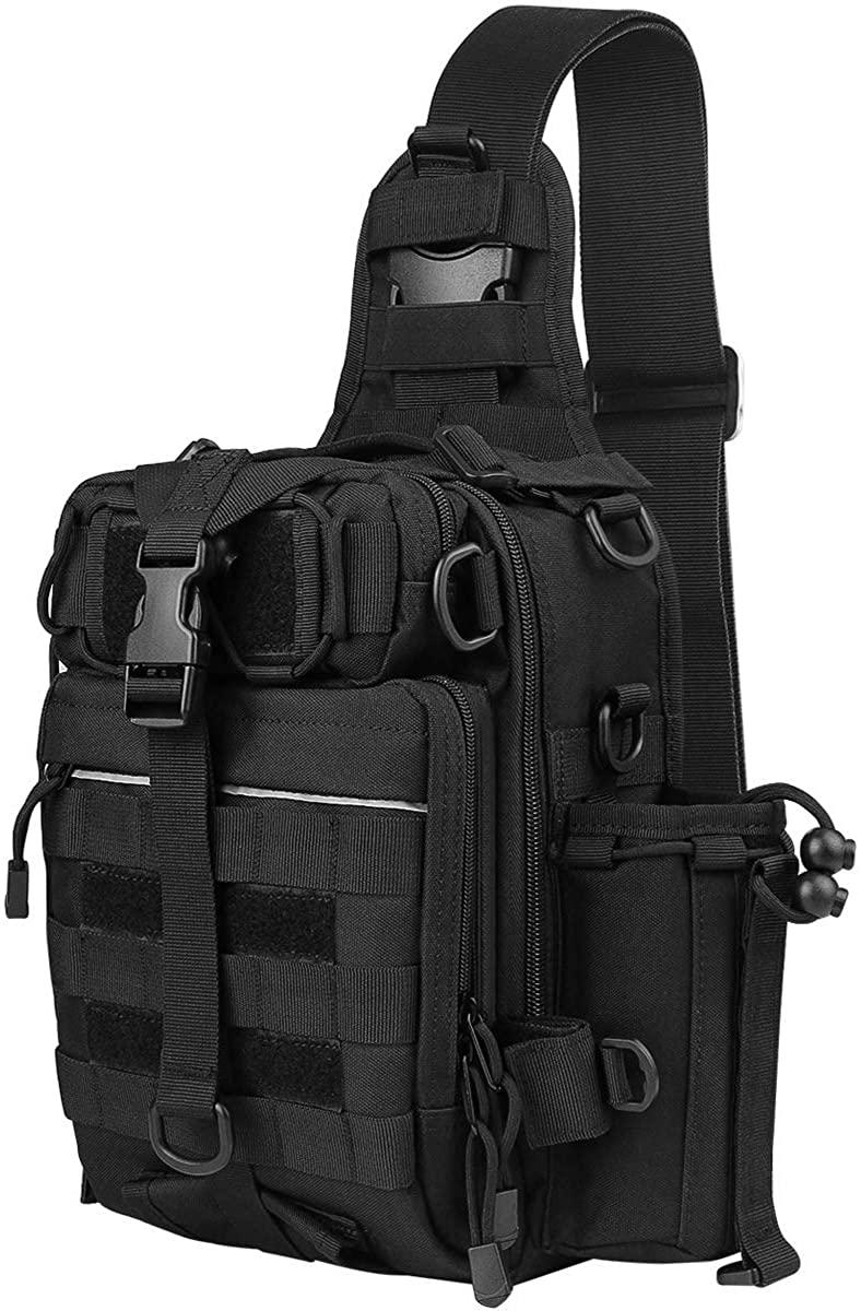 Fyland Tactical Sling Backpack Small Waterproof EDC Shoulder Bag Plenty of Pockets for Fishing, TB12, Black