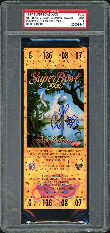 Desmond Howard Autographed 1997 Super Bowl Ticket Gold Variation Green Bay Packers Auto Grade 9 PSA/DNA #20009944
