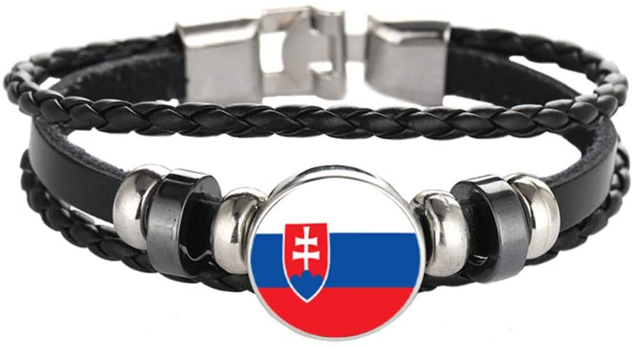 National Flag Style Bracelet Creative Slovakia Travel Souvenir Gift Personalized Woven Bracelet Accessories for Men and Women