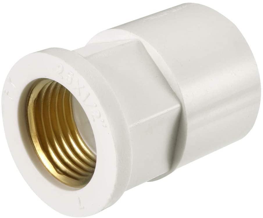 uxcell 25mm Slip x 1/2 PT Female Brass Thread PVC Pipe Fitting Adapter 2 Pcs