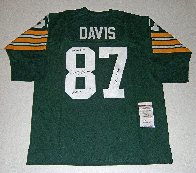 Autographed Willie Davis Jersey - STAT w HOF SB Champs COA - JSA Certified - Autographed NFL Jerseys