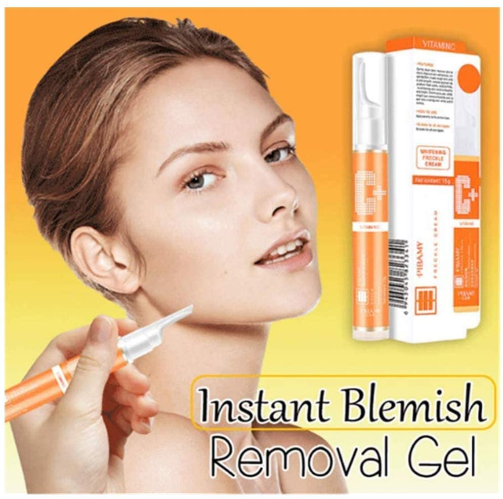 Instant Blemish Removal Gel, VC Whitening Freckle Curing Cream, Shrink Pores & Remove Acne, Brighten Freckle Curing Care for Brightening Tone & Moisturizing, Gentle Non-irritating