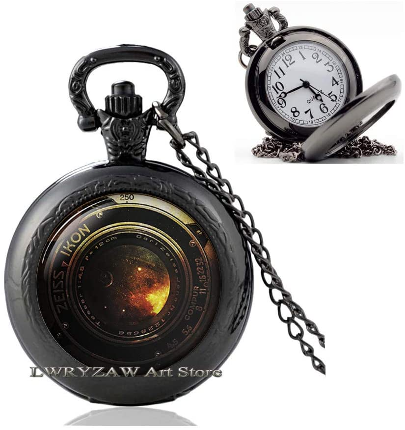 Camera Pendant, Camera Lens Pocket Watch Necklace, Camera Lens Pendant, Photographer Jewelry Photography Gift, Old Camera, Pocket Watch Necklace for Men,M331