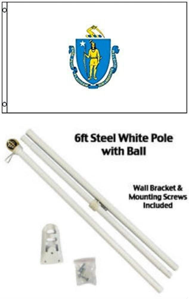 AES 2x3 2'x3' State of Massachusetts Flag White Pole Kit Gold Ball Top
